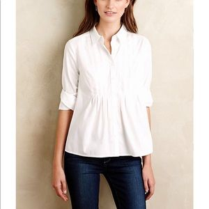 Anthropologie Maeve Pleated Sutton Top